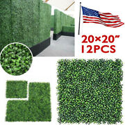 12pcs 20x20 Artificial Boxwood Mat Wall Hedge Decor Privacy Fence Panel Grass