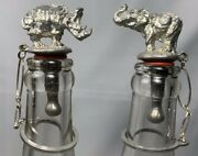 Vintage Elephant And Rhino Bottle Stopper Silver Metal Stamped Silver Wine Liquor