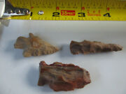 727 Lot Of 3 Artifacts,3 Arrowheads,texas, Found By West Family