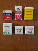 Fast Ship Lot Of 6 Antique Spice Containers - Schilling Mccormick Durkee