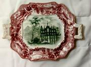 Red And Green English Gothic Abbey Ruins 19th C Transferware Sm Rect Tray Handles