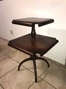 Antique Leather Top 2 Tier Pie Table Entry Dumbwaiter Weiman Mahogany Carved