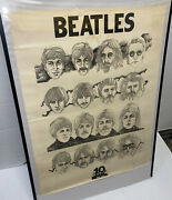 """Beatles 1964-1974 10 Years Vintage Promo Poster Larger 29"""" X 22"""" Free Shipg Us"""