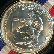 1997 National Law Enforcement Officers 1 Silver Unc== Box And Coa==free Shipping