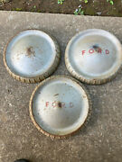 3 Vintage 9.5 Ford Dog Dish Hub Caps / Wheel Covers Silver W/ Red 08022106