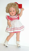 18andrdquo 1930s Ideal Composition Shirley Temple Roller Skater Doll W/ Orig Mohair Wig