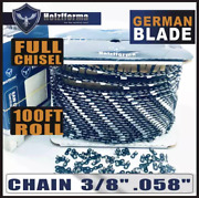 Holzfforma 100ft Roll 3/8 .058'' Full Chisel Chainsaw Saw Chain
