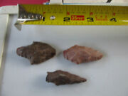 735 Lot Of 3 Artifacts Only,3 Arrowheads,texas, Found By West Family