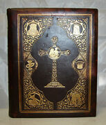 C1885 Life Of Christ And Popes Bible Related Leather Illustrated Nice