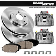 Front Oe Calipers + Brake Rotors +ceramic Pads For 2003 2004 - 2007 Cadillac Cts