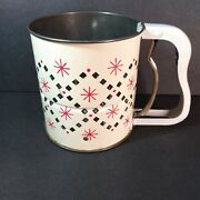 Vintage Androck 3 Screen Flour Sifter Hand-i-sift Great Graphics Red Starburst
