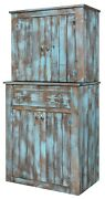 Amish Rustic Farmhouse Kitchen Hutch Cabinet Aged Distressed Pallet Solid Wood