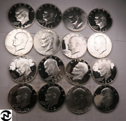 16 Mixed Silver Eisenhower Ike Dollar Partial Roll Lot // Proof+bu Il33