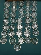 """Lot Of 36 Vintage Mason Canning Jar Clear Glass Lids For Wire Bail Jars 3 1/8"""""""