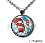 Cat In The Hat Dr. Suess Book Lovers Glass Pendant Necklace Back To School