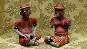 Pair Pre-columbian Pottery Clay Terracota Painted Figures
