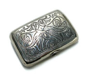 Russian 84 Silver Floral Cigarette Case Or Box. Engraved Intertwined Dragons