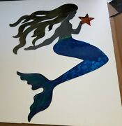 Metal Wall Art Mermaid Large Sculpture Patio Cottage Decor Tropical Usa Made