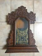 Antique Pressed Wood Mantle Clock Case W/ Painted Glass Door And Bell - 22x15x7