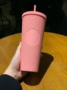 Starbucks 2020 Singapore Matte Coral Pink Studded 24oz Cold Water Cup Tumbler