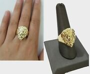 Gold Lion Head Mens Ring Solid 10k Yellow Gold Real Ring , Pinky , Casual , Size