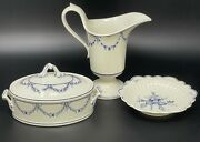 4 Pcs Villeroy And Boch Vieux Septfontaines Blue And White Pitcher Mini Tureen, Bowl