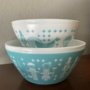Vintage Charm Inspired By Pyrex 2 Rise And039n Shine Mixing Bowl Set Turquoise Nice