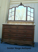 61983 Super Rare Antique French Dresser With Multi Beveled Mirrors