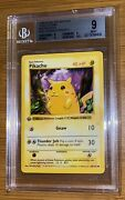1999 Pokemon Base 1st Edition Red Cheeks Pikachu Thick Stamp 58 Bgs 9 Mint