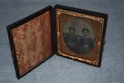 Antique Daguerreotype Photo Of Two Young Girls Tintype Frame With A Wooden Case
