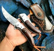 Collectible Clip Point Folding Knife Pocket Hunting Survival Damascus Steel Wood