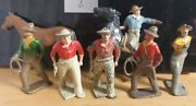 6 Lead Toy Cowboys One Mounted And Spare Horse - Original 1930's Hand Painted