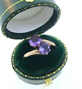 Antique 1800and039s Victorian 10k Rose Gold Amethyst Ring