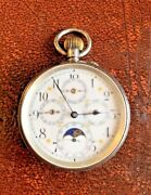 Working Antique Silver Moon Phase Pocket Watch Swiss Case Arabic Numeral Dial