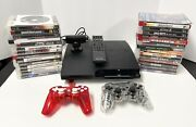 Sony Playstation 3 Ps3 Slim 120gb Black Console W/ 30 Games And Extras Lot