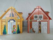 Lot Of 2 Playmobil Doll Houses Figures Furniture Barn Animals