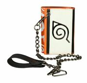 Naruto Series Symbol Design Trifold Clutch Wallet With Chain