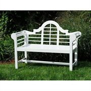 Fast Furnishings Outdoor Lattice Back Garden Bench In White Wood Finish
