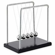 Black Wooden Base Fun Science Newtons Cradle Balance Balls Large With