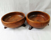 Pair Of Antique Wood Bowls With Feet Wooden Church Offertory Dishes 7 Wide