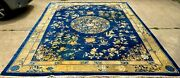 Antique 19th Century Chinese Oriental Rug Blue Great Designs Size 11' X 13' 3