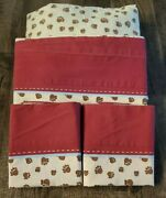 Woolrich Kids Full Sheets Fitted Flat Accent Pillow Bear Paw Prints Brown Red Co