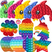 Rainbow Popit Bubble Fidget Sensory Toy Silicone Autism Stress Relief Game Gift