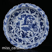 17.5 Antique Yuan Dynasty Porcelain Blue White Open Slice Character Story Plate