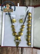 Vintage Peruvian 1/2 Sol Coin Necklace, Earning, And Bracelet Set With Jewelry Box