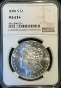 1880-s Morgan Dollar == Ms-67+ Ngc == Frosty And Beautiful == Free Shipping