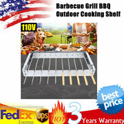 Electric Bbq Grill Shelf Rolling Garden Camping Barbecue Skewers Rotisserie Usa