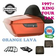 King Tour Pack Luggage Orange Lava Black Hinges And Latch Fit 97-21 Harley Electra