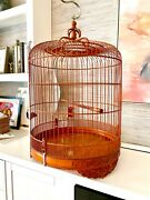 36andrdquo Vintage Ornamented Chinese Handmade Carved Canary Bird Cage Porcelain Bowls