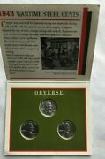 1943 Steel Penny, Set Of 3, Littleton Coin Co. Uncirculated Wheat Back